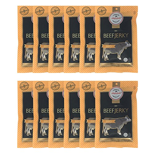 Aufschnitt Beef Jerky - Barbecue - 12 pack (2 oz each) -...