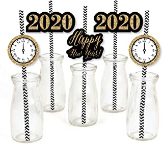 New Year's Eve - Gold Paper Straw Decor - 2020 New Years Eve Party Striped Decorative Straws - Set of 24