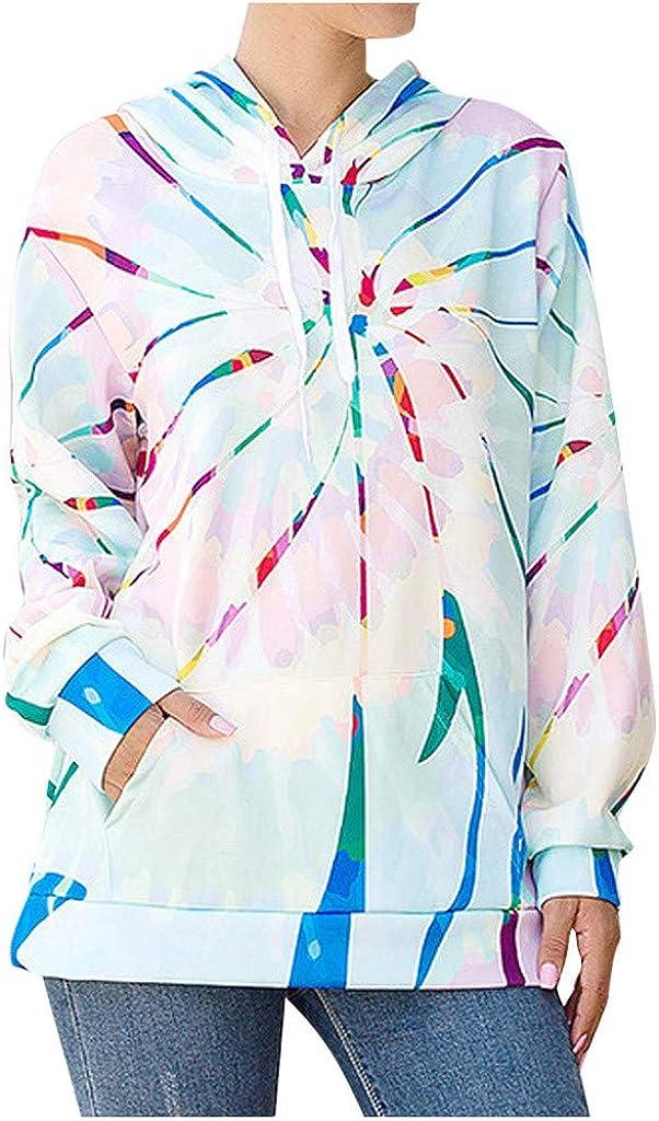 Eduavar Womens Fashion Tie Dye Printed Hoodies Sweatshirt Long Sleeve Casual Colorblock Pullover Hoodie Tops with Pocket