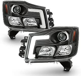 ACANII - Upgrade Design Black LED DRL Light Tube For 2004-2015 Nissan Titan 04-07 Armada Projector Headlight Headlamps