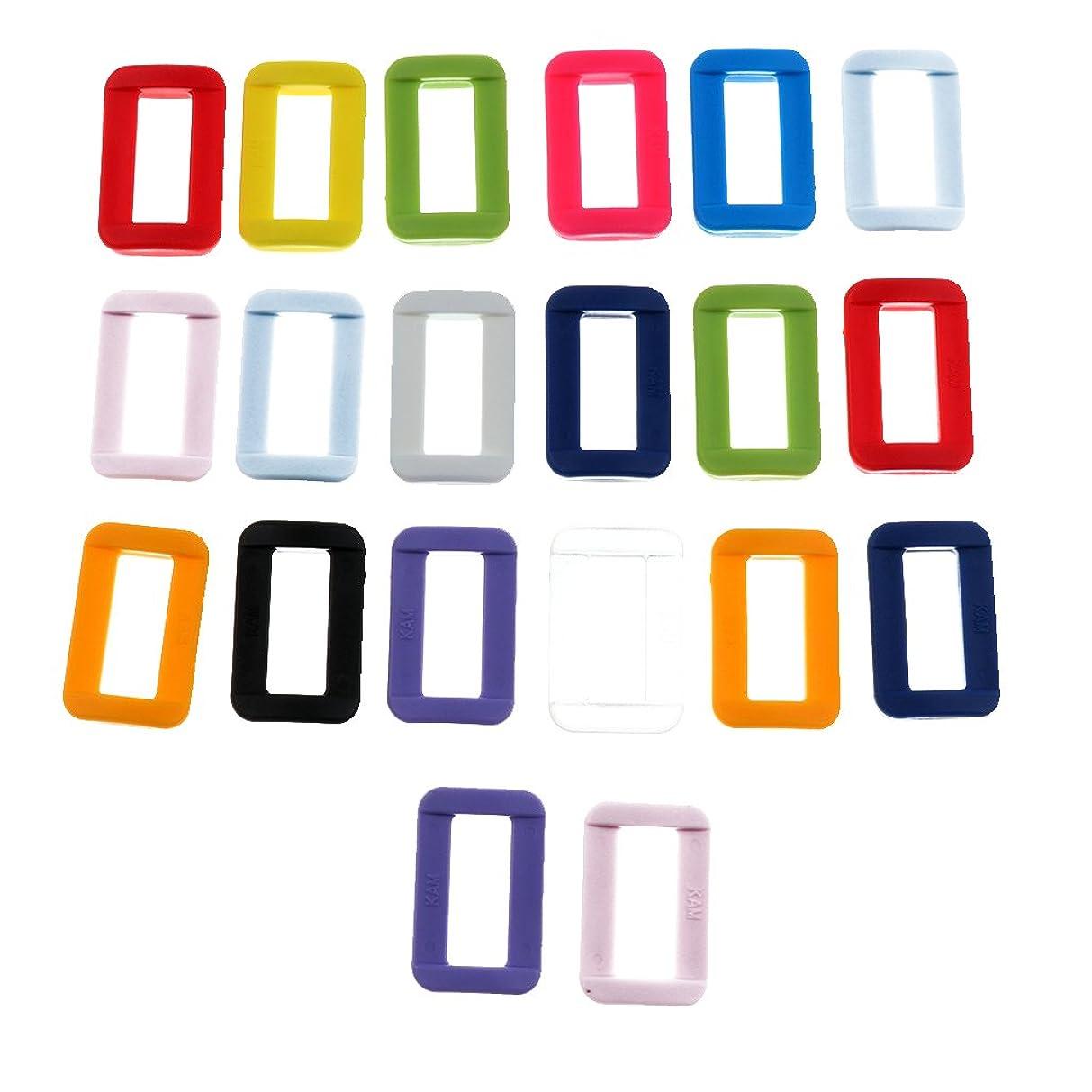 イヤホン歩行者出演者Fityle 20色 カラフル ウェビング カラーカンプ 樹脂ループスライド ストラップ バックル 全2サイズ選べ - 20mm