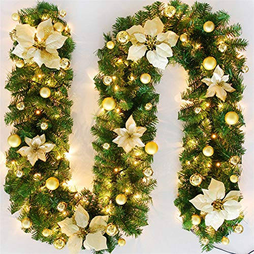 TopHGC Christmas Garland, 2.7M Fireplaces Stairs Decorated Garlands LED Lights Ornament Christmas Wreath for Home Decoration (Gold)