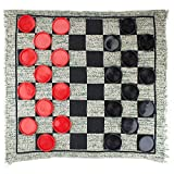Giant 3-in-1 Checkers and Mega Tic Tac Toe with Reversible Rug – Indoor/Outdoor Jumbo Classic Board Games for Friends, Kids, & Family Fun – Great for Game Night, BBQ, Travel, Parties, & Events