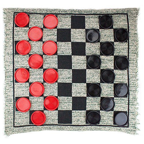 Giant 3-in-1 Checkers and Mega Tic Tac Toe with Reversible Rug – Indoor/Outdoor Jumbo Classic Board Games for Friends