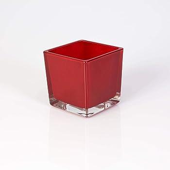 weiß INNA Glas Teelichthalter LEVI 6x6x6cm Kerzenglas // Teelichtglas