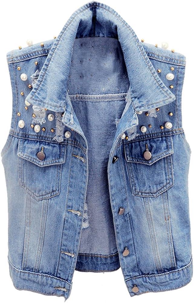 LifeShe Womens Sleeveless Beading Pearls Denim Jean Cropped Vest Jacket