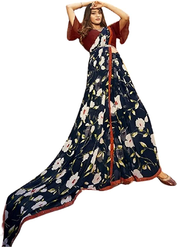 Black Floral Indian Woman fancy Printed Georgette Sari Designer Summer Soft Saree Contrast Blouse 6221