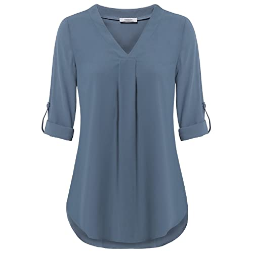 010051a49fa5c4 Youtalia Womens 3/4 Cuffed Sleeve Chiffon Printed V Neck Casual Blouse  Shirt Tops