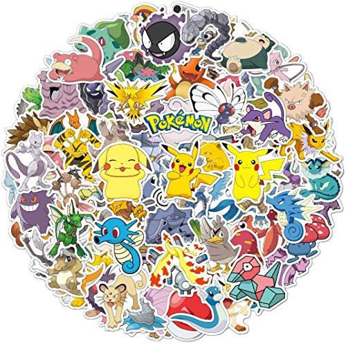 Pokemon Stickers 100pcs Pikachu Cool Stickers for Hydroflask Water Bottles, Pokemon Sticker for Kids,Adults