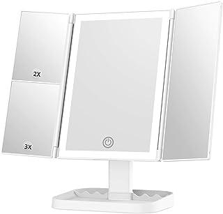 آینه آرایش با چراغ ، آینه روشنایی 3 رنگ با بزرگنمایی 3 برابر 1 برابر 2 برابر ، سوئیچ صفحه لمسی ، چرخش چرخش 180 درجه ، منبع تغذیه دوگانه ، آینه سه گانه قابل حمل