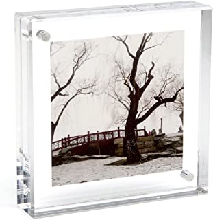 Canetti Original Magnet Frame Square 4x4 Double Sided Magnetic Picture Frame, Floating Photo Frame, Two Acrylic Panel