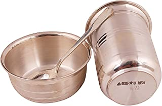 Msa Jewels Solid Silver Bowl with Glass and Spoon Set (Silver, 3.5 x 2.5 Inch 3 x 1.5 Inch), 1 Set