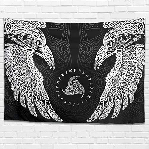 NiTIAN The Twin Ravens In Norse Mythology,Viking,Huginn and Muninn,Odin Tapestry Bed Sheet Comforter, Home Dekor für Schlafzimmer Wohnzimmer White 200x150cm