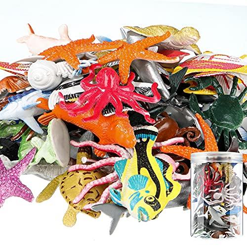 80 Figuras de Animales Marinos de Océano Set de Juguetes de Baño de Animales de Vida Bajo el Mar de Plástico Realista con Caja de Almacenamiento para Baño Piscina