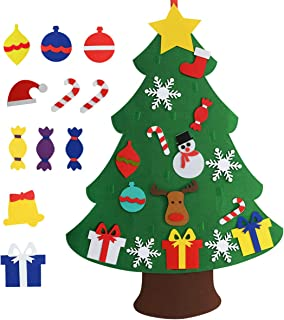 Chasgo Felt Christmas Tree for Kids with 27 Packs Funny Christmas Ornaments, Funny Gifts for Kids Hanging Christmas Tree Decor for Kids Room, Class Room, Shop, New Year, Xmas Gift for Kids