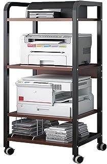 Support D'imprimante, Support D'imprimante 4 Niveaux Table D'imprimante Avec 4 Roues Multifonction Chariot Organisateur Bu...