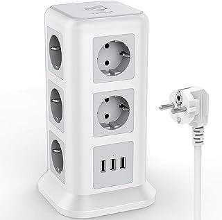 TESSAN Stekkerdoos met 11 Voudige (2500W/10A) 3 USB, met Overbelastingsbeveiligingsschakelaar, Meervoudige Stopcontacten S...