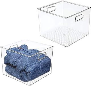 "mDesign Deep Plastic Home Storage Closet Organizer Bin, 8"" High - Clear, Plastic, Clear, Pack of 2"