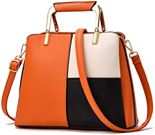 Handbag - Simple Atmosphere, Smooth Texture, PU Waterproof, Ladies' Multi-functional Handbag, Single-shoulder Bag (20.0cm * 36.5cm * 11.0cm) Worth having (Color : Orange)