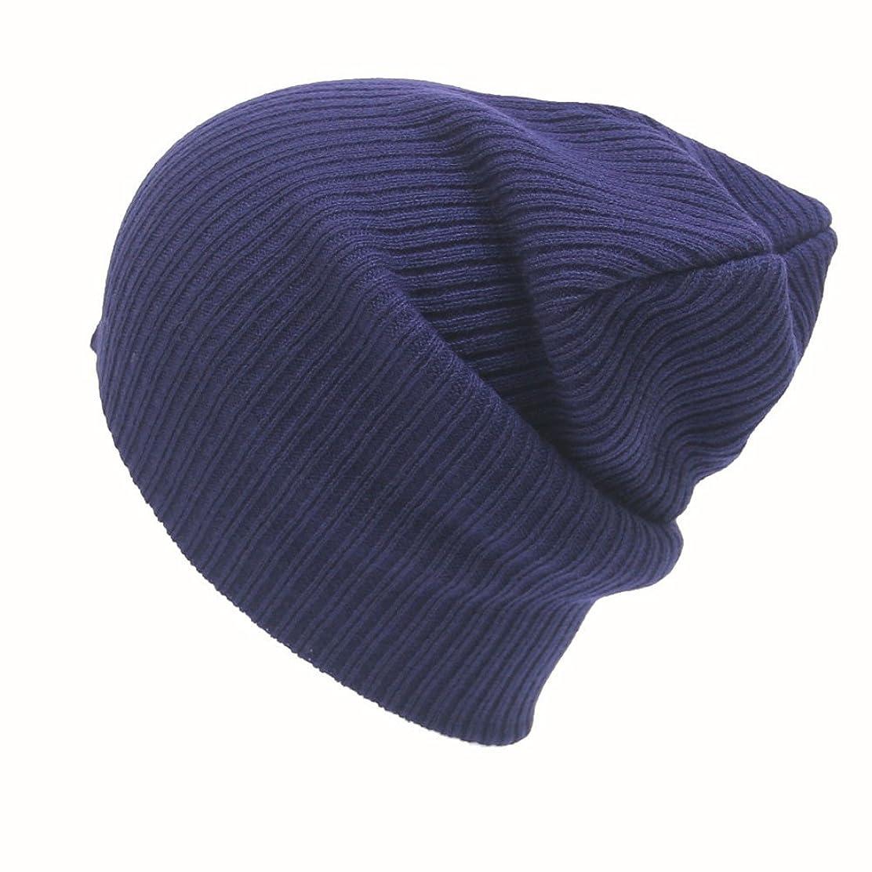 コロニー白雪姫シンクRacazing 選べる7色 ニット帽 編み物 ストライプ ニット帽 防寒対策 通気性のある 防風 暖かい 軽量 屋外 スキー 自転車 クリスマス Hat 男女兼用 (ネービー)