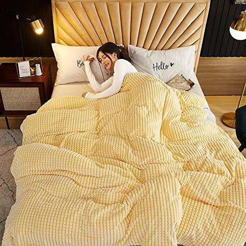 Baixtuo Mantas para Sofa Mantas para Mantas para Cama Mantas Ligeras De Limpiar - Extra Suave CáLido (Amarillo y Blanco, 100x70)