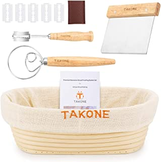 TAKONE Premium Banneton Proofing Basket Set, Include 10 Inch Oval Sourdough Bread Bowl+Dough Scraper+Bread Lame+Danish Dough Whisk+Brotform Cloth Liner, Great Gift for Bread Bakers