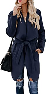 Foshow Women's Lapel Wool Blend Coat Long Sleeve Belted Trench Overcoat with Pockets