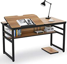 Tribesigns Modern Drafting Desk Drawing Table with Storage Shelf, 55 inch Large Computer Desk Writing Desk Craft Workstation with Tiltable Tabletop for Reading, Home Office