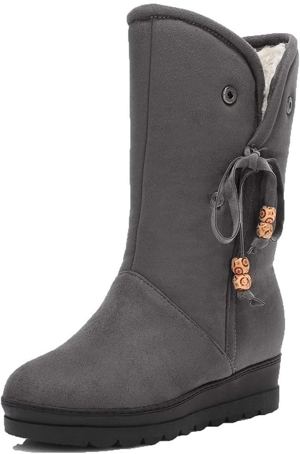 AmoonyFashion Women's Solid Low-Heels Round-Toe Imitated Suede Pull-On Boots, BUSXT120478