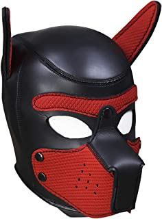 XuSha Neoprene Puppy Mask Dog Hood Pet Hat Removable Mouth Cosplay Party Props Costume Dog Head Mask Puppy Mask Halloween Medium Red