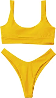 Women's Two Piece Bikini Push Up Halter Swimsuit Solid Color Bathing Suits