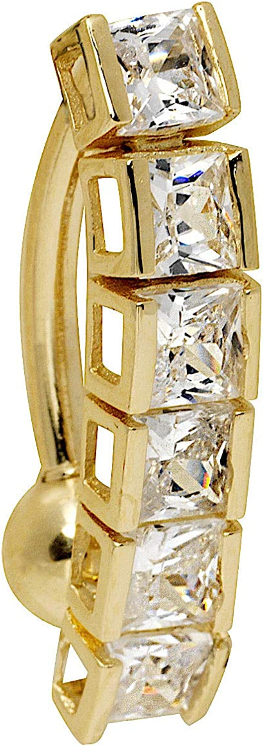 JewelryWeb Solid 14k Yellow or Gold 2021 White Square Reservation Princess Cubic