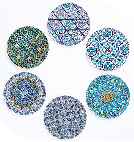 BABEL ARTESANIA Set di 6 sottobicchieri Decorativi Originali per caffè, Cucina, Bevanda, Boccale, Vino, Tazze, Bicchieri, Vetro - per Tavolo in Legno (Andalusí)