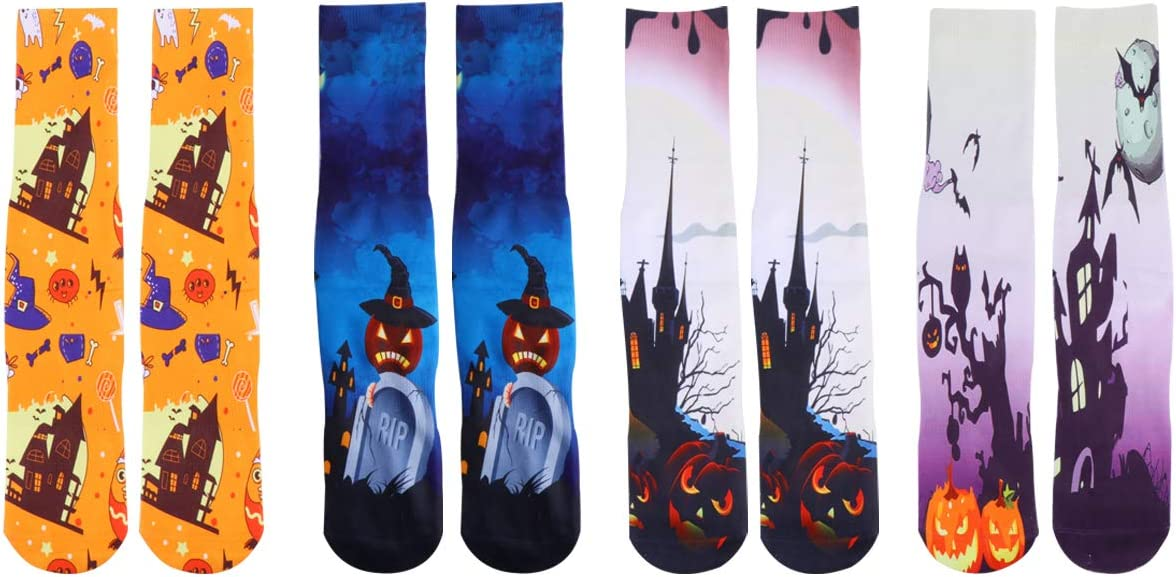 Max 75% OFF VALICLUD 4 Pairs Halloween Socks Hallowe Stockings Free Shipping Cheap Bargain Gift Props Costume