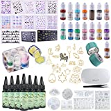 Résine époxyde UV + Pigments nacrés + Moules en silicone + Encadrements + Feuilles de décoration + Paillettes + Pince à...