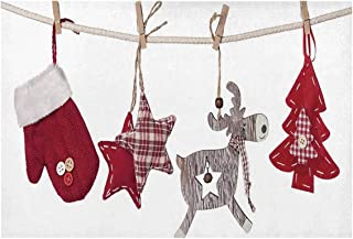 C COABALLA Christmas Utility Placemat,Traditional Xmas Celebration Items Hanging from Rope with Clothespins Retro for Home,One Piece 12