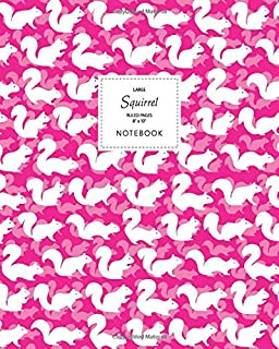 Squirrel Notebook - Ruled Pages - 8x10 - Large: (Electric Pink Edition) Fun notebook 192 ruled/lined pages (8x10 inches / ...