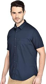 BASICS Slim Fit Iris Navy Stretch Shirt