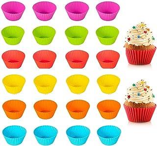 Qiwenr 24Pcs Moule à Muffins,Grand Moule Muffin Set Moulle Silicone Patisserie Ustensiles de Cuisson Silicone Réutilisable...