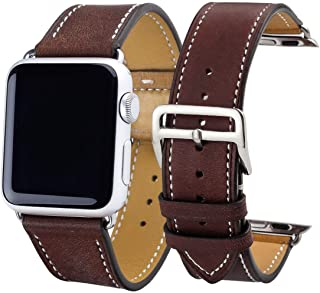 Genuine Leather Watchband Compatible for Watch Band Series 4/3/2/1 38mm 42mm Qualit Leather Compatible for Sports Strap 40mm 44mm