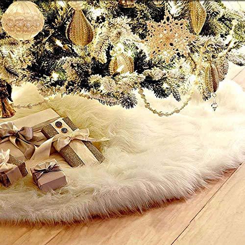 homeyuser Weihnachtsbaum-Rock aus Kunstfell, Baumschmuck, Weihnachtsbaum-Rock für Weihnachten, Urlaub, Dekoration, Neujahr, Party-Dekoration (121,9 cm Durchmesser)