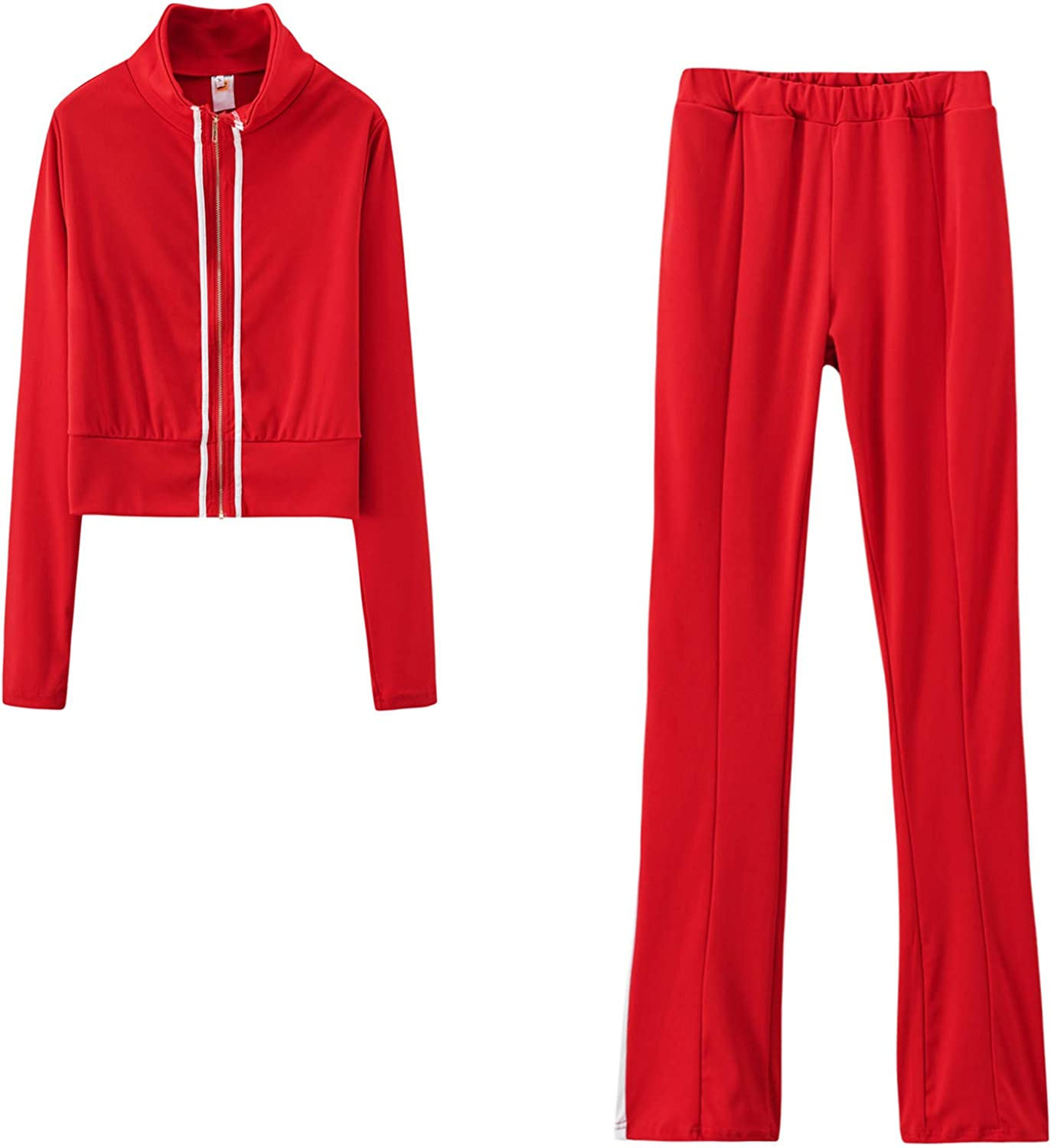 Women Fashion Bombing free Max 78% OFF shipping Zipper Solid Color Sweat Pant and Top Shirt Tracks