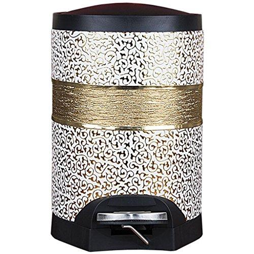 Wddwarmhome Or blanc motif sculpté avec une poubelle Pédale de salle de séjour Toilette de toilette créative Toilette Poubelle de corde Retro Trash Can Feets couverts avec des poubelles Matériel en cuir Poubelle à Couche ( taille : 10L )