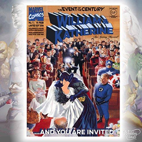 Batman Catwoman Marvel Comics boda cumpleaños billete invitación invitar Superman Robin Joker...