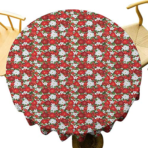 Christmas Tablecloth - 50 Inch Round Tablecloth Kitchen Poinsettia Flower Holly and Mistletoe in Natural Traditional Combination Celebration Festival White Red Green