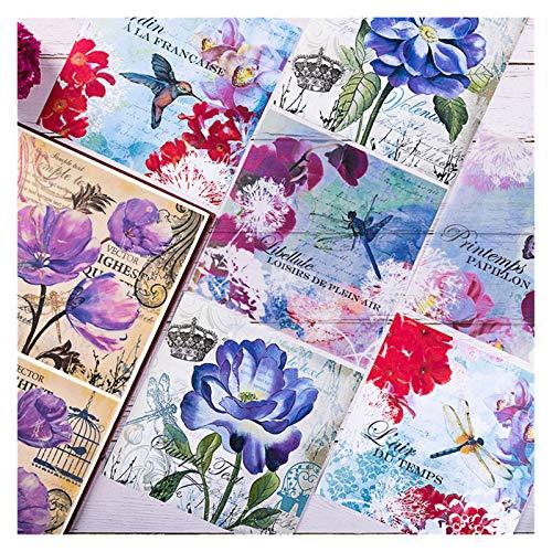 LUCHAO Pegatinas 12pcs / Set Vintage Flowers Vellum Paper Pattern Pack para Scrapbooking Feliz Planner Card Hacienda Proyecto de Diario de chatarra (Color : F)