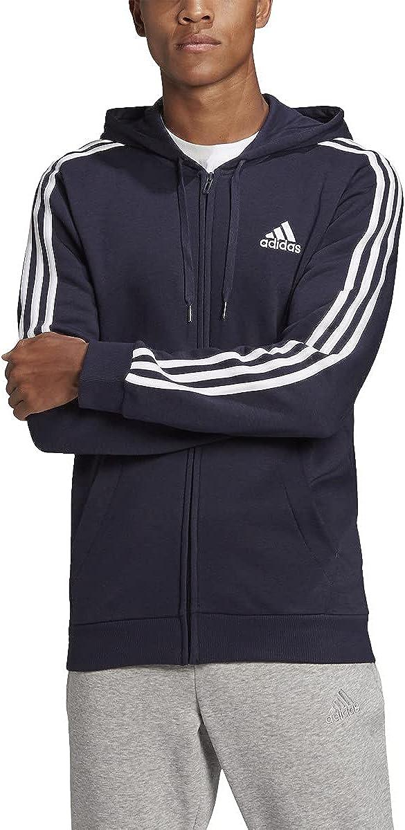 adidas Men's Essentials Fleece 3-Stripes Full-Zip Hoodie