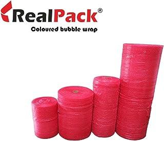 Realpack 1 x Rolle, antistatische rote Luftpolsterfolie, Größe: Breite 750 mm x 100 m. Schützt elektrostatikfrei vor Transportschäden.