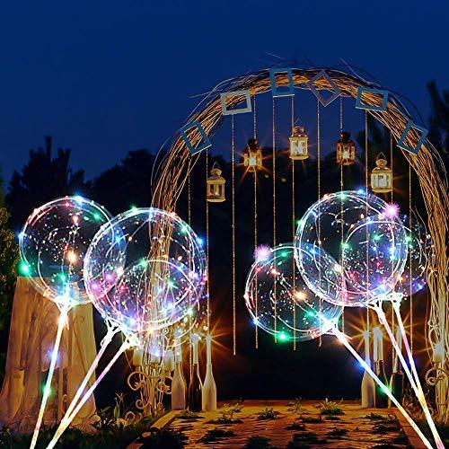 Palloncini da 45,7 cm, 3 m, con 30 LED, dotati di aste con valvole – Palloncini ideali per ragazzi, matrimoni, fai da te, compleanni, decorazioni feste, carnevale, bar, ecc. , multicolore