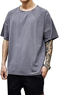 NOQINHOO リネンメンズ Tシャツ 半袖 綿 無地 薄手 シンプル カジュアル ゆったり 大きいサイズ 麻 夏服